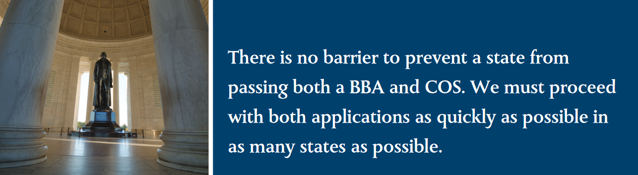 There is no barrier to prevent a state from passing both a BBA and COS. We must proceed with both applications as quickly as possible in as many states as possible.